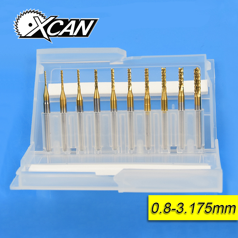 10 pz 0.8mm-3.175mm Titanio Rivestito Carbide End Fresa Incisione Taglierina di Bordo Frese CNC End mulino per PCB Macchina