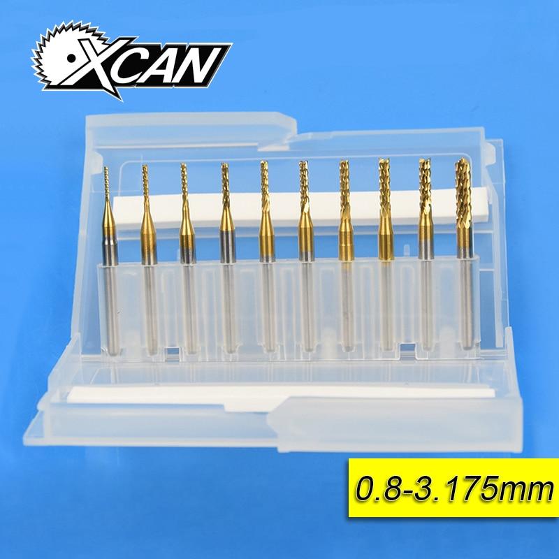 10 stücke 0,8mm-3,175mm Titan Beschichtete Hartmetall-schaftfräser Gravur Rand Cutter Cnc-fräser-spitzen Ende mühle für PCB Maschine