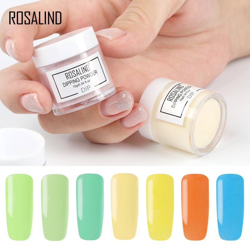 ROSALIND 10g Dipping Powder Nail Natural Color Holographic Glitter Nail Art Powder D101-124 No Need Lamp Cure