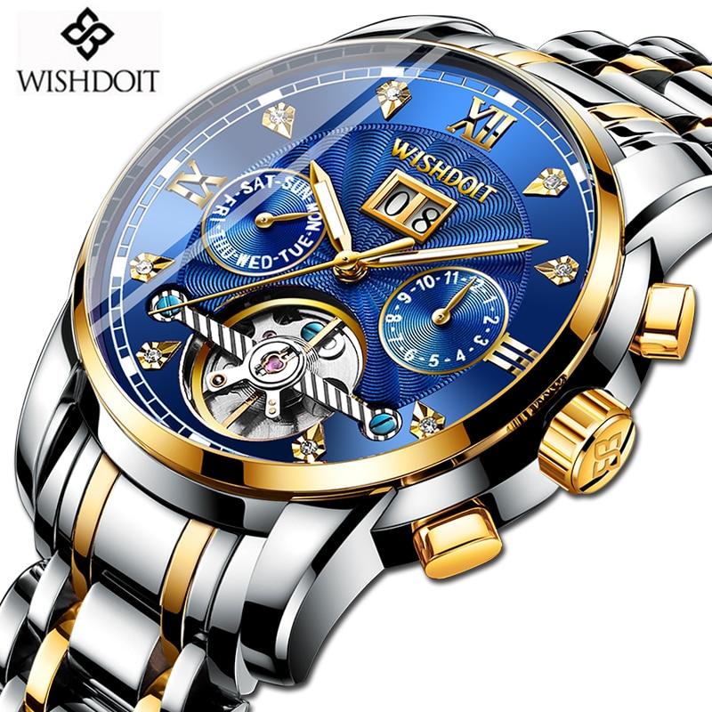 WISHDOIT Nouveau montre homme Mécanique Tourbillon De Luxe Mode acier inoxydable montres de sport montre automatique hommes Relogio Masculino