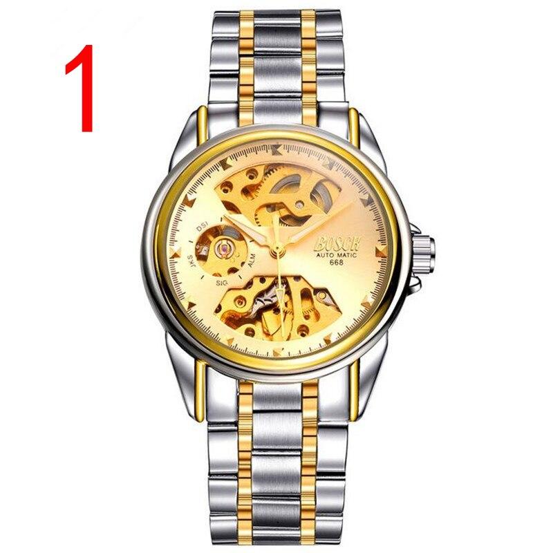 La parte superior de lujo negocio reloj destaca la aristocrático y los hombres de éxito es temperamento correa cambiable correa de acero y cinturón
