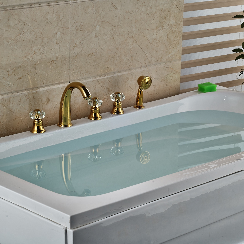 Deck Mounted Golden Brass Crystal Handles Vanity Vessl Sink Tub ...