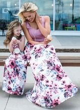 Mother daughter dresses Floral Long Dress mae e filha and clothes Mom dress Family Matching Clothes