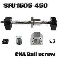 Ballscrew 450mm SFU1605 rolled ball screw C7 with end machined +1605 ball nut + nut housing+BK/BF12 end support + coupler RM1605
