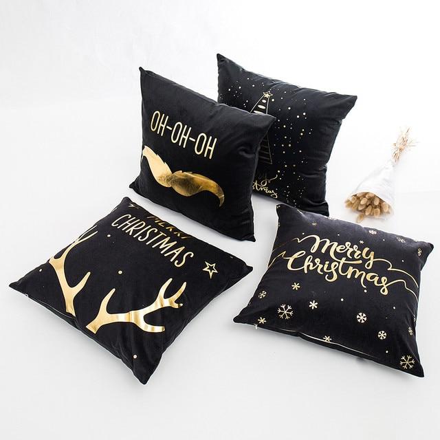 Buon Natale Coperture per Cuscini Stagnola di Oro di Stampa Copertura Del Cuscin