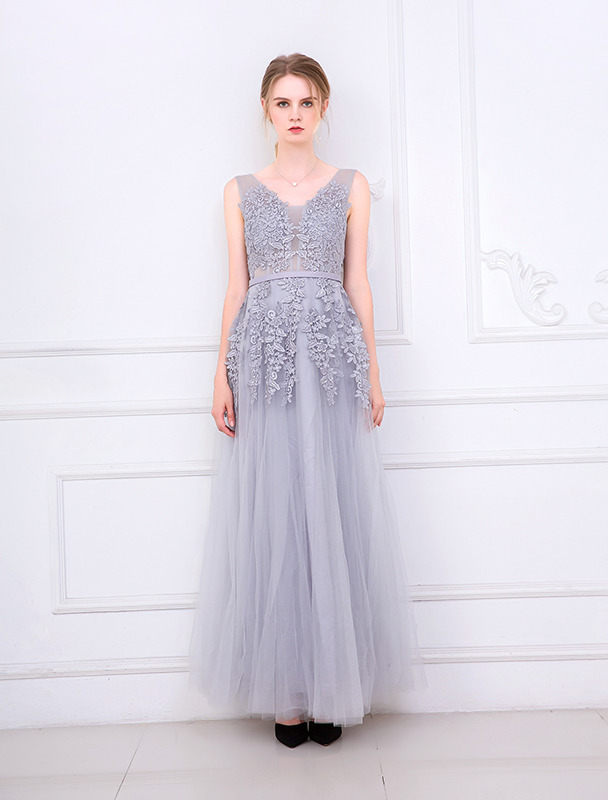 Sleeveless  Embroidery Bridesmaid Dress Long Style  Yarn Mesh  Dress Banquet Wedding Dress Vintage Sexy Prom Vestidos