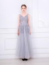 Sleeveless  Embroidery Bridesmaid Dress Long Style Yarn Mesh Banquet Wedding
