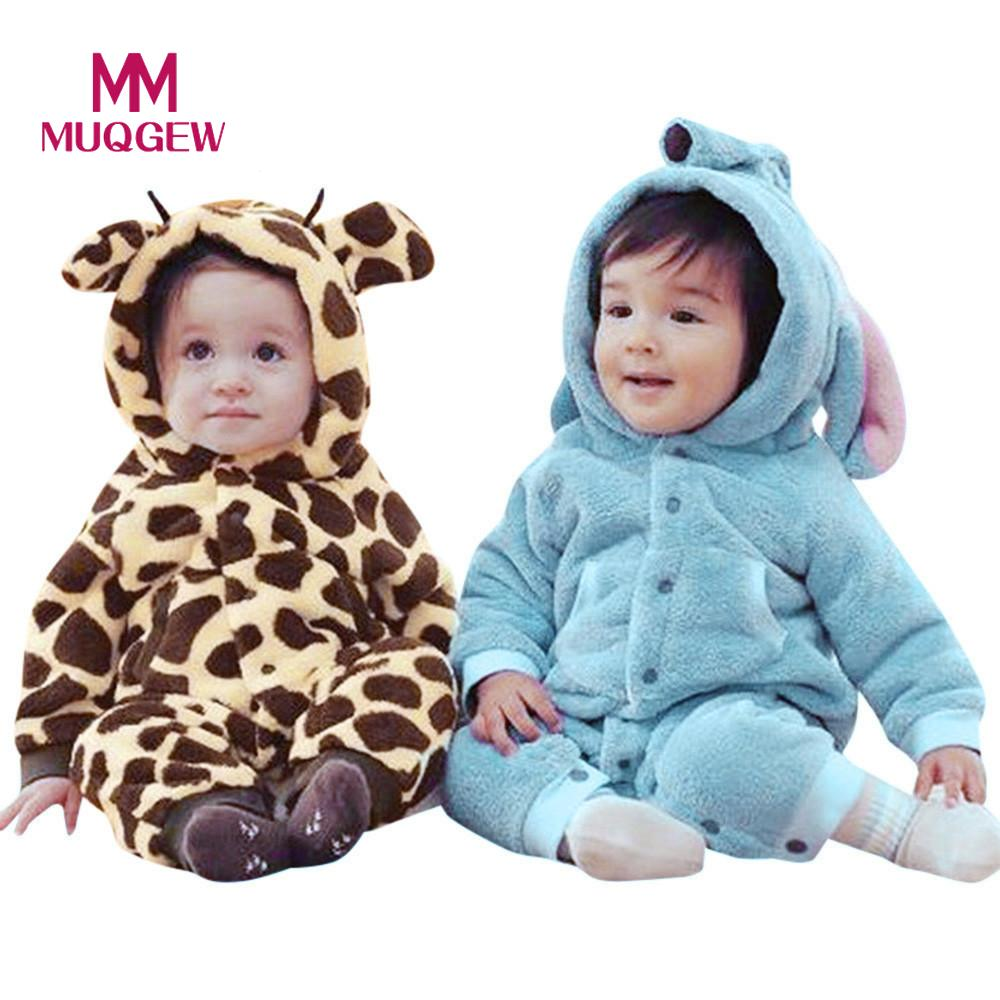 MUQGEW Newborn Baby Boys Girls Warm Hoodie Cartoon Rompers Jumpsuit Outfits Winter warm soft home Clothes Photography Props 1-2T