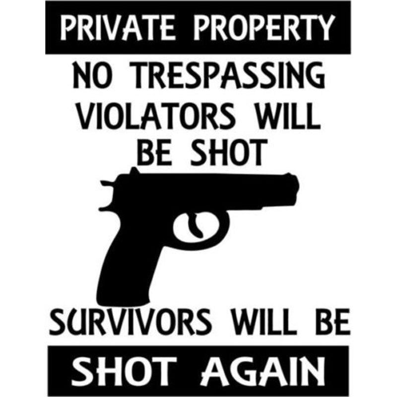 11.7CM*15.2CM No Trespassing Violators Will Be Shot Gun Decal Car Styling Stickers Decorative Styling Black Sliver C8-0907