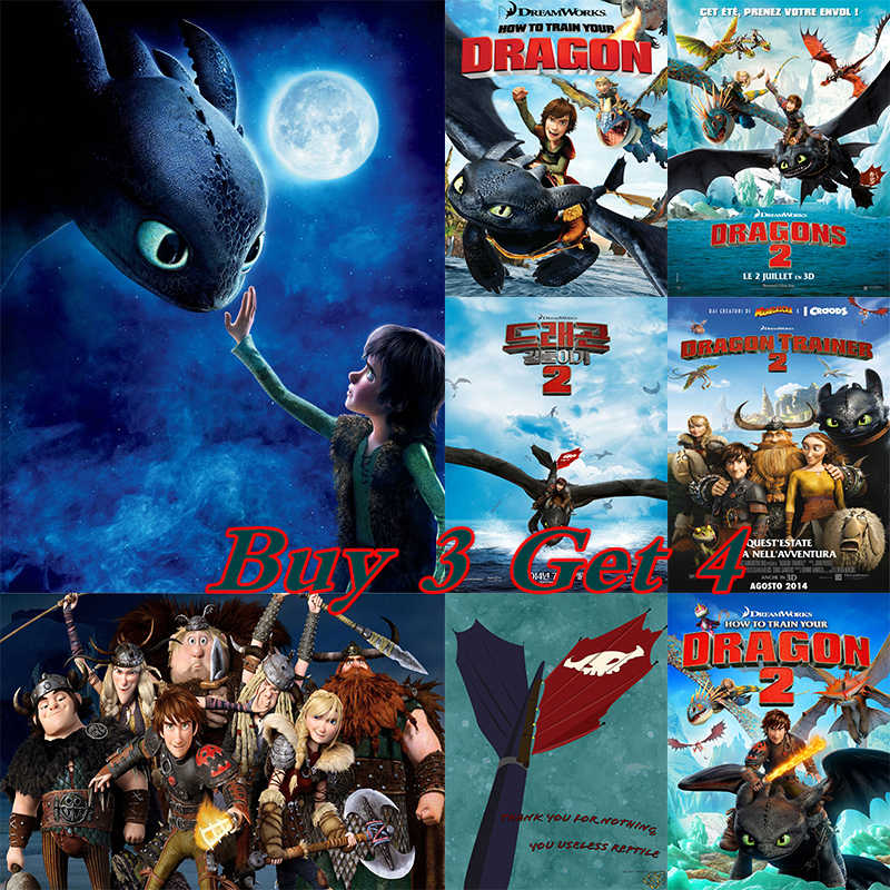How to Train Your Dragon Posters Cartoon Wall Stickers White Coated Paper Prints Home Decoration Livingroom Bedroom Bar No frame