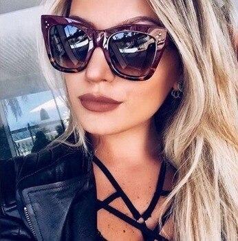 2017 moda Cat Eye Leopard okulary przeciwsłoneczne w stylu Vintage kobiety marka projektant metalowa rama pani okulary przeciwsłoneczne 2017 óculos De Sol feminino