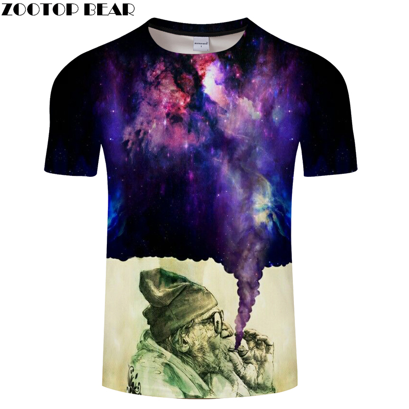 Smoking Glaxy Space Mens T-shirts 3D Printed Tees 2018 Summer O-Neck Street Style Tops Drop Ship ZOOTOP BEAR