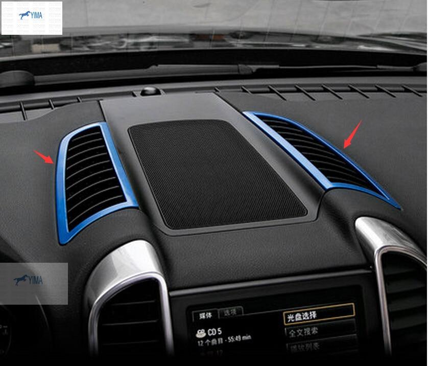 Interior For Porsche Cayenne 2015  metal  Dashboard Upper Air Vent Outlet Cover Trim 2 pcs / set