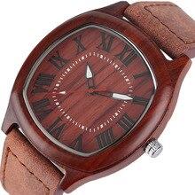 YISUYA Elegant Mens Wood Watches Top Brand Irregular Round Natural Bamboo Genuine Leather Quartz-watch Male Sports Gift 2017