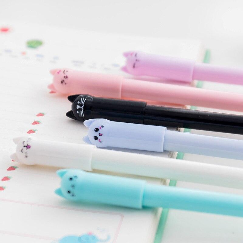 Cartoon Kawaii Cat 0.5mm Black Gel Pens Office School Cute Student Supplies Pen Kids Boys Pencil Writing Pen Girls Cartoon Gift