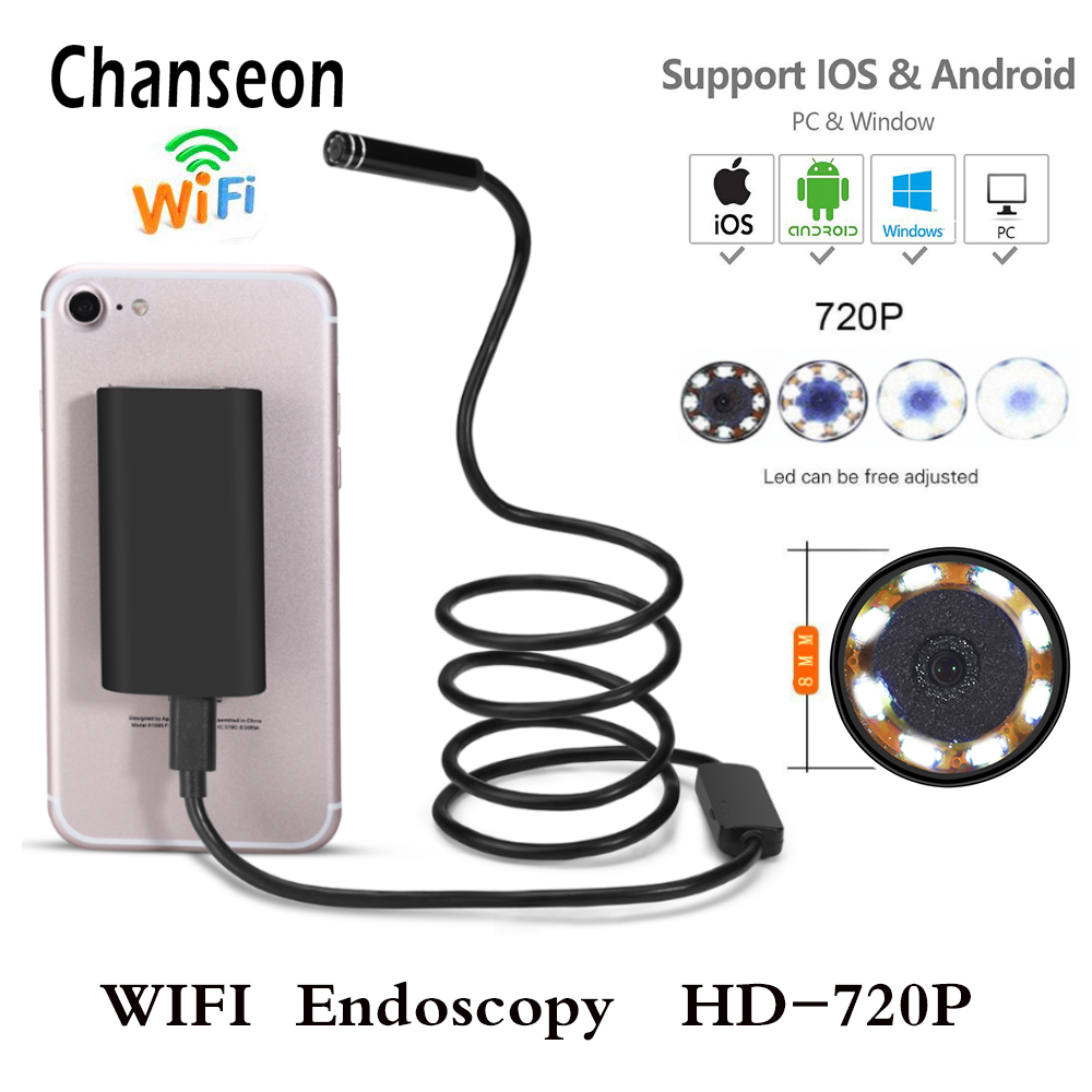 Wifi Endoscope Camera Android 720P IOS Borescope Waterproof Lens Endoscopic Semi Rigid Hard Tube with 8 Leds Detector Endoscope industrial endoscope wifi with android and ios 720p 6 led 8mm waterproof inspection borescope tube camera with 2m cable no usb