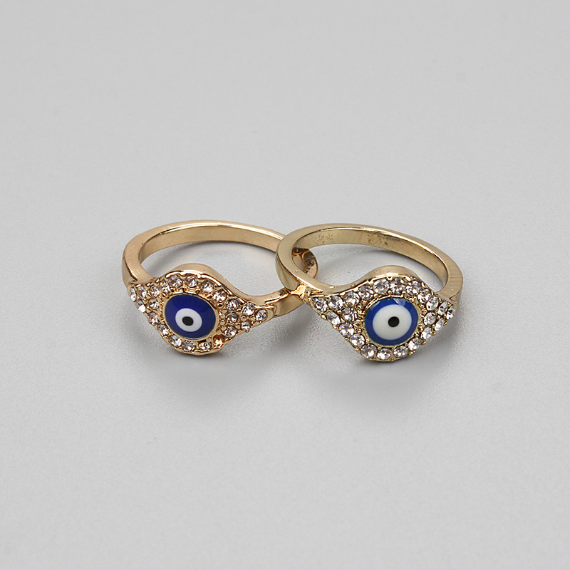 Lucky Eye Gold Evil Eye Ring Tyrkisk Crystal Ring For Menn Kvinner Mote Smykker Gaver EY75