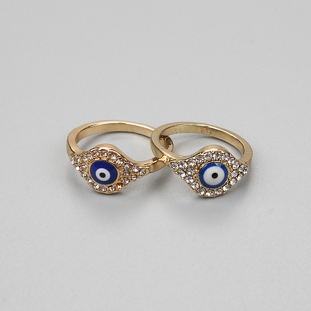 Lucky Eye Gold Evil Eye Ring Turkish Crystal Ring For Men Women Fashion  Jewelry Gifts EY75 bc86b005979e