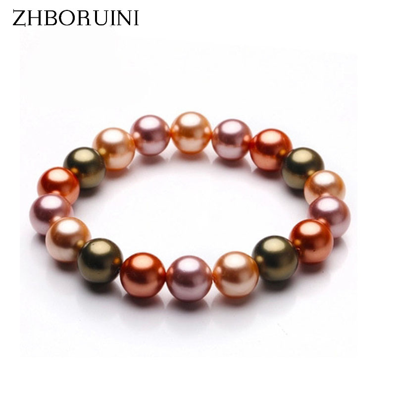 ZHBORUINI Charm Bracelet Pearl Jewelry Green Mother Pearl Shellfish Bracelet & Bangles Natural Freshwater Pearl For Women