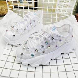 Women's Shoes White Sneaker Women Platform Thin Mesh Breathable Rhinestone Lace-up Summer Flower Ladies Shoes Sneakers ks826w