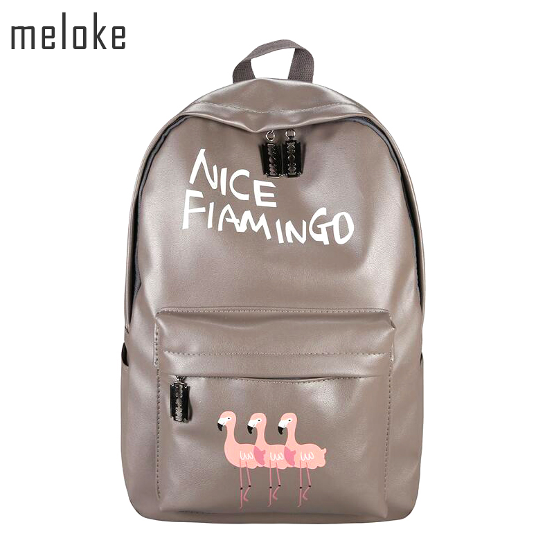 Meloke 2018 Brand Unisex Backpacks Flamingo 3D Printing Bags leather Backpack Women Shopping Travel Bag Mens Backpacks MN160 new fabulous unisex graffiti backpacks 3d printing bags drawstring backpack wholesale sep09