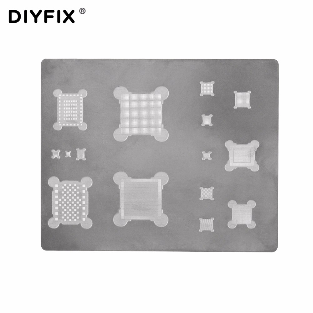 DIYFIX IC Chip Ball Soldering Steel Net 3D BGA Reballing Stencil for iPhone A8 A9 A10 Logic Board CPU Chip Repair Tools new chip bga reballing stencil for iphone 5 6 7 a7 a8 a9 a10 cpu ram upper lower reball tool stencils ppd planted tin mold set