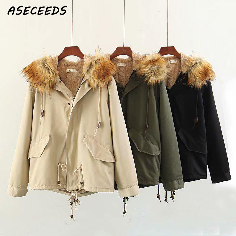 2018 fur collar hooded   parkas   women padded coat Casual Army black warm down jacket female winter coat overcoat plus size
