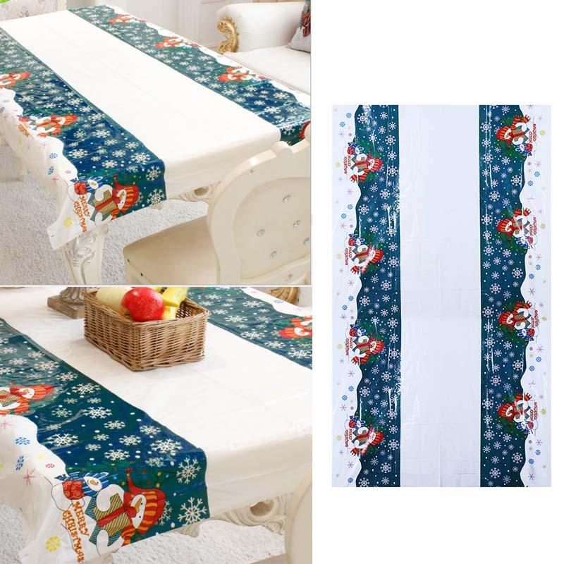 Christmas Disposable Tablecloth Festive Rectangle Santa Claus Table Cloth Xmas Table Decoration for Home Table Covers