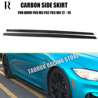 M3 M4 Carbon Fiber Side Bumper Skirt for BMW F80 M3 F82 F83 M4 2012 2019 Auto Racing Car Styling Side Skirts Bodykit