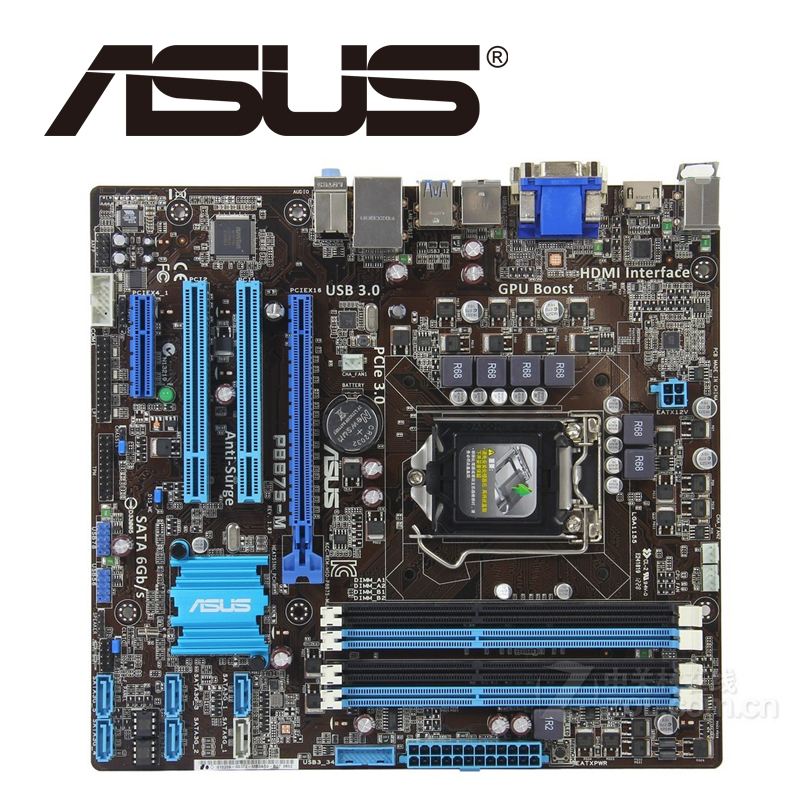 Asus P8B75-M Desktop Motherboard B75 Socket LGA 1155 i3 i5 i7 DDR3 16G uATX UEFI BIOS Original Used Mainboard On Sale asus m4a88t m desktop motherboard 880g socket am3 ddr3 sata ii usb2 0 uatx