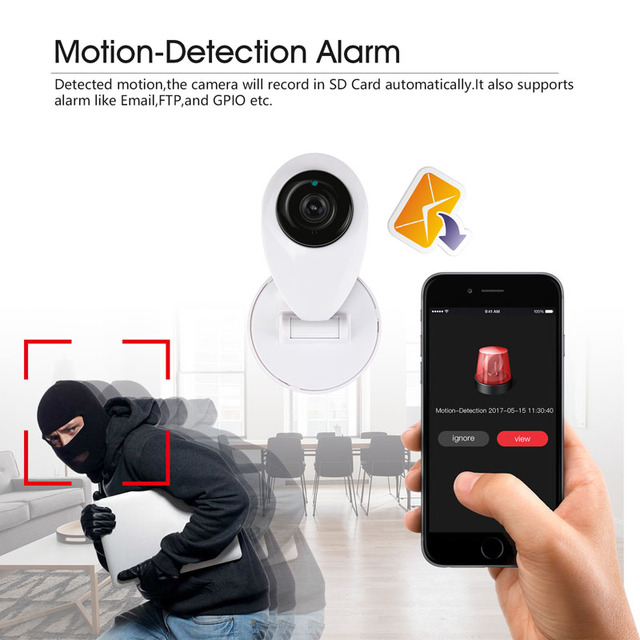 H.View ip Camera Wi-fi 720P Mini Surveillance Camera Baby Monitor Pet Monitor Security Camera iPhone Android Phone Remote Access