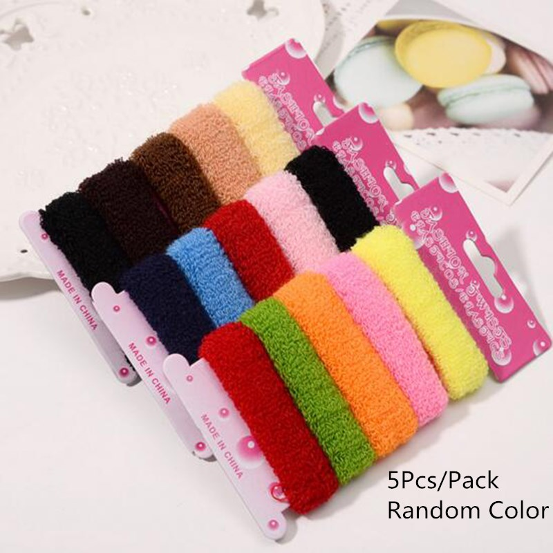 New Arrivals Women Girls 5Pcs Pack Colorful Random Color High Elastic Hair Band Rubber Rope Ponytail