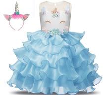 Anna Elsa Moana Girls Unicorn Dress Kids Children Princess Dress Pattern Girl Party Princess Dress Summer Dresses стоимость