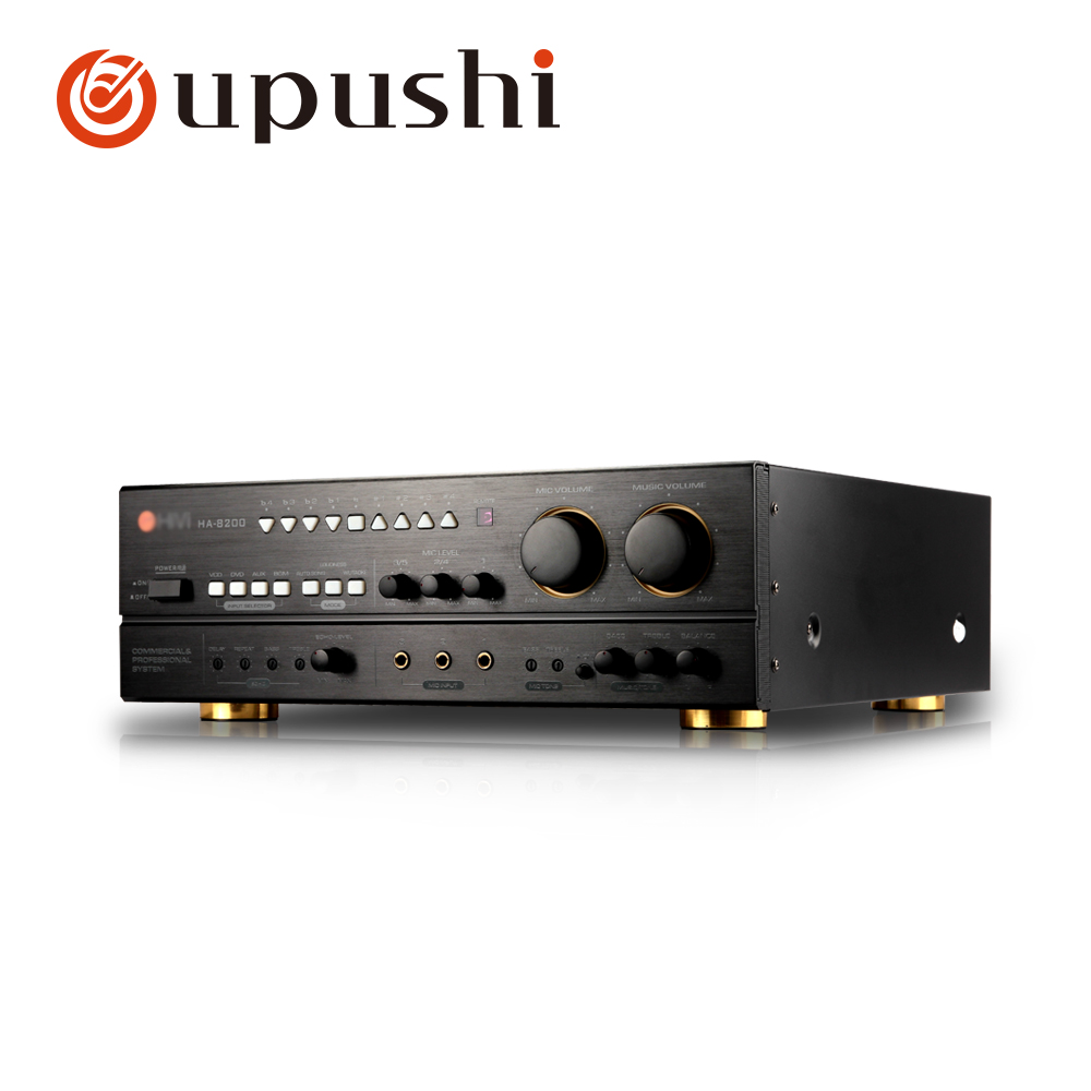 Oupushi HA8200 Professional Karaoke High Power Amplfier 200W*2 With Remote Control Microphone Input