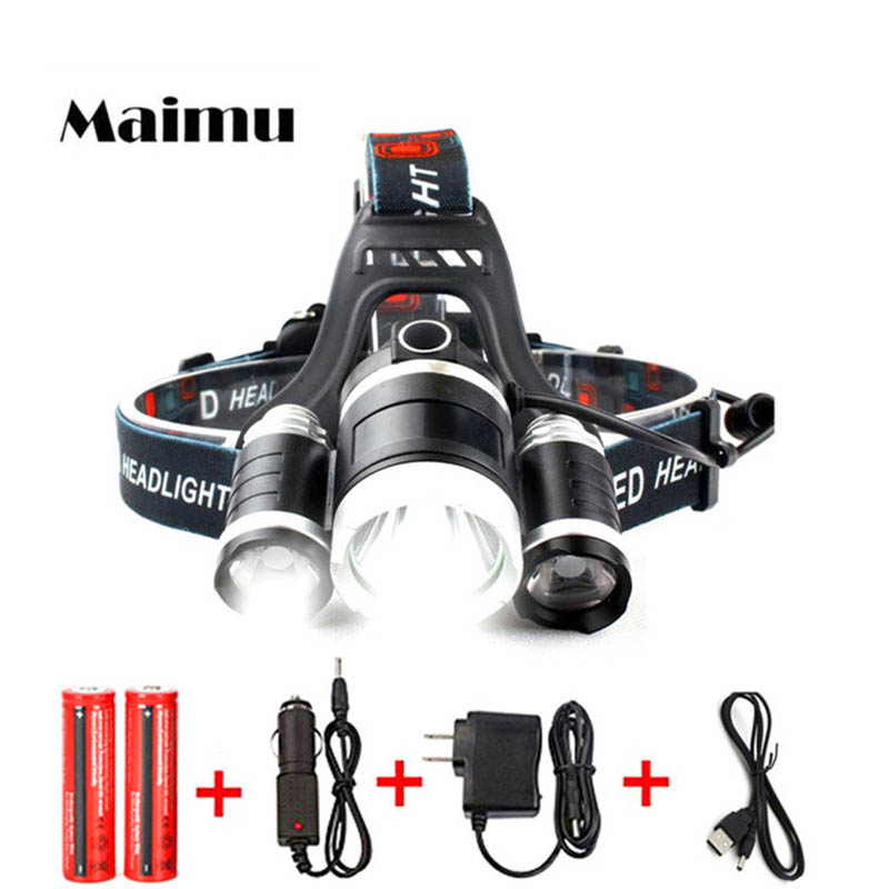 USB Power Led Headlight Headlamp 10000 lumen 3*Cree xml t6 Rechargeable Head Lamp Torch 18650 Battery Hunting Fishing Light Q02 стоимость