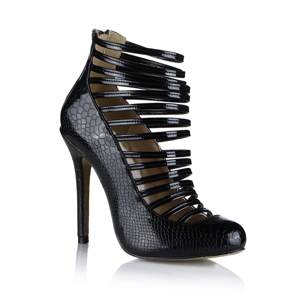 ФОТО hot new 2016 women gladiator high heels shoes PU snake leather summer ankle boots sexy cut-outs fashion belt pary wedding pumps