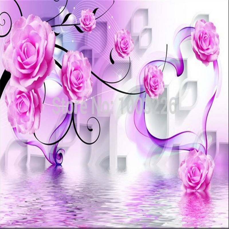 Beibehang Seamless Purple Pink Roses Background 3d Mural Customize