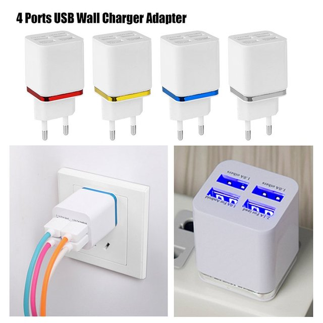 Free shipping Universal 4 Ports USB Wall Charger Travel Adapter 5V 5.1A for iPhone Samsung iPad 4 Colo APPLE