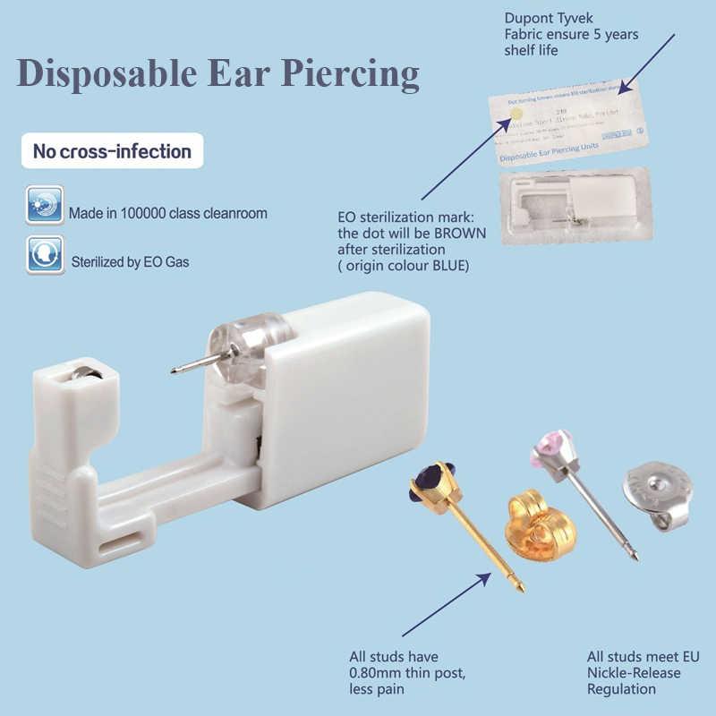 BOG-1Unit Sterlised 일회용 안전 귀 코 피어싱 장치 공작 기계 Ear Piercer Sterile Bezel Crystal Stud Body Jewelry