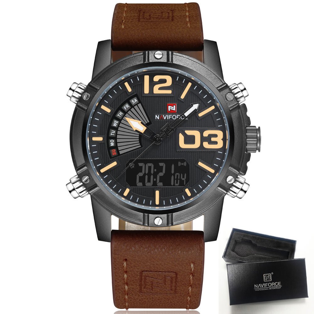 New Luxury Brand NAVIFORCE Men Clock Male Military Watches Men's Quartz Analog Led Digital Sport Wrist Watch relogio masculino naviforce watches men luxury brand quartz watch clock digital led army military sport watch relogio masculino free for regulator