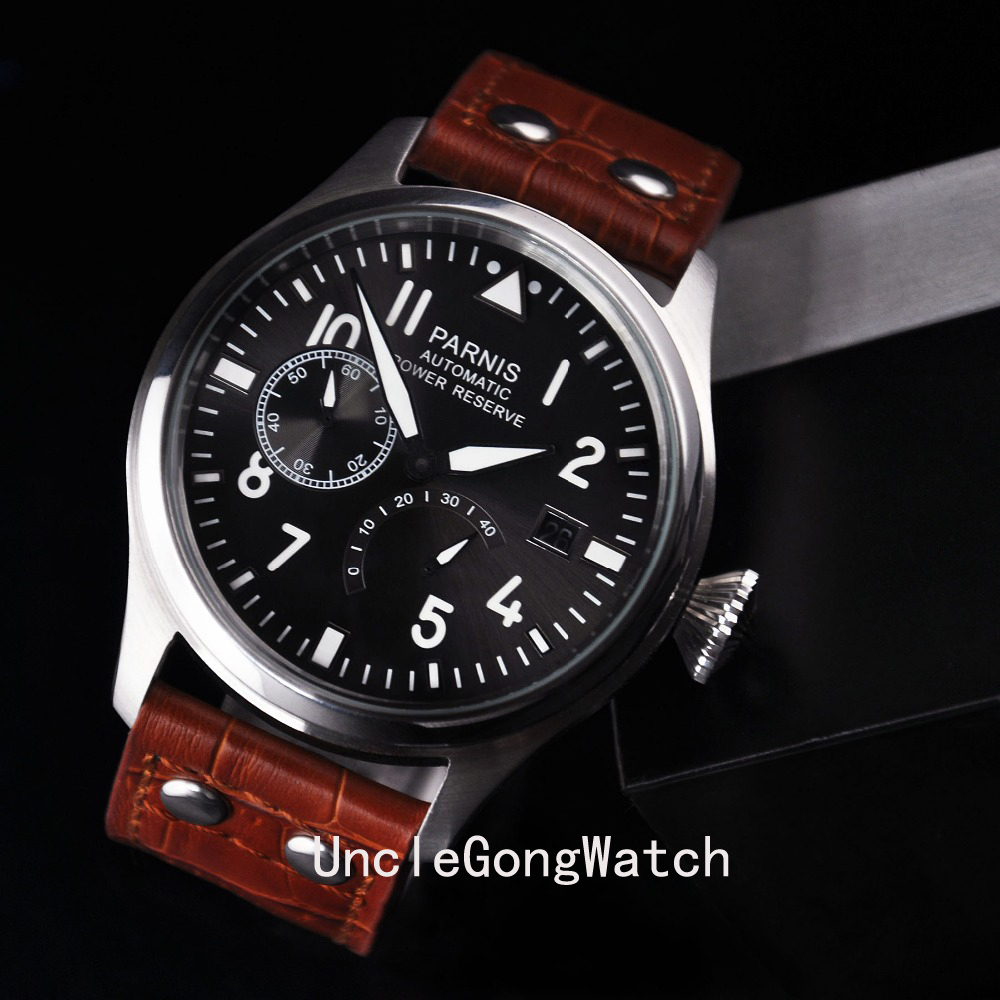 Power Reserve Movement Leather Strap Men's Automatic Watch 47mm Parnis Fashion Casual Watch PA4705PW power reserve 1x