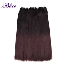 Blice Synthetic Hair Weaving 18 Inches Mix #1B/99J Yaki Straight Double Long Weft Sew in Hair Extensions 100G/Piece 3Pieces/Lot(China)