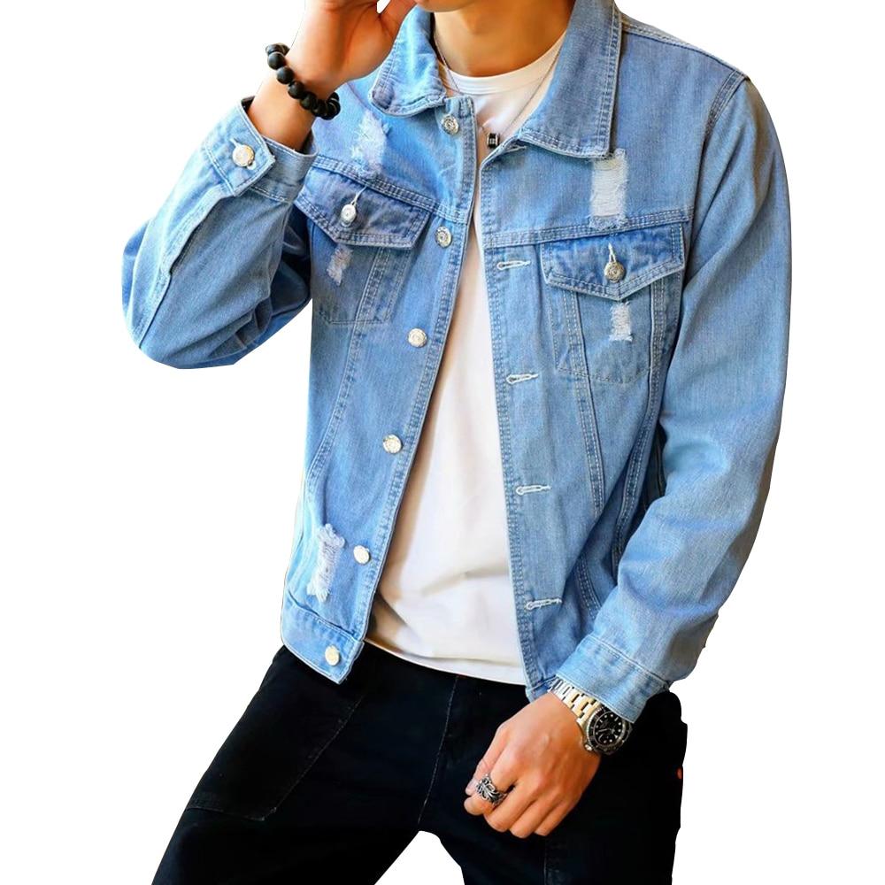 Men's Denim Jacket Hip Hop Retro Denim Jacket Street Casual Pilot Harajuku Fashion Hole Slim Buttoned Sky Blue Men's Jacket