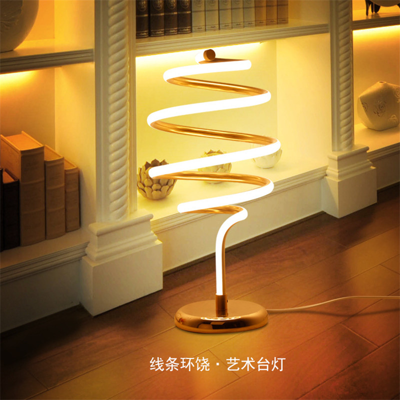 Modern Household Concise Creative Individuality Spiral Art Table Lamp Bedroom Study Living Room Decoration Lamp Free Shipping tuda 24x49cm free shipping fashion creative table lamp resin rabbit shaped table lamp living room decoration modern table lamp