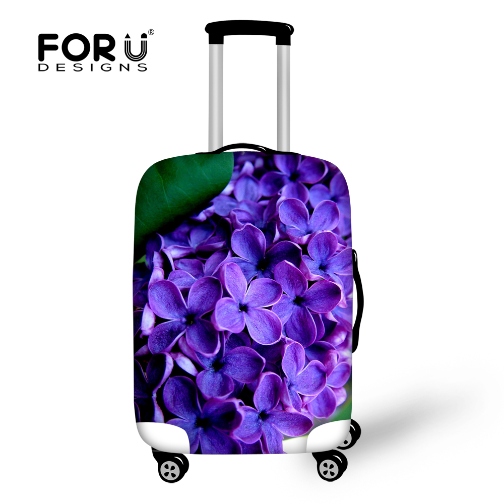 FORUDESIGNS Travel On Road Elastic Luggage Protective Cover Flower Prints Waterproof Anti-dust Suitcase Cover For 18''-30'' Case