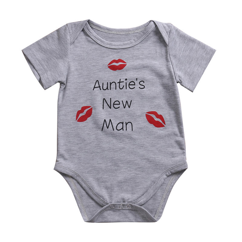 Cute Infant Baby Girl Boy Sunsuit Lovely Auntie's New Man Jumpsuit Outfit   Romper   Playsuit Best Gifts from Aunts Summer Clothes