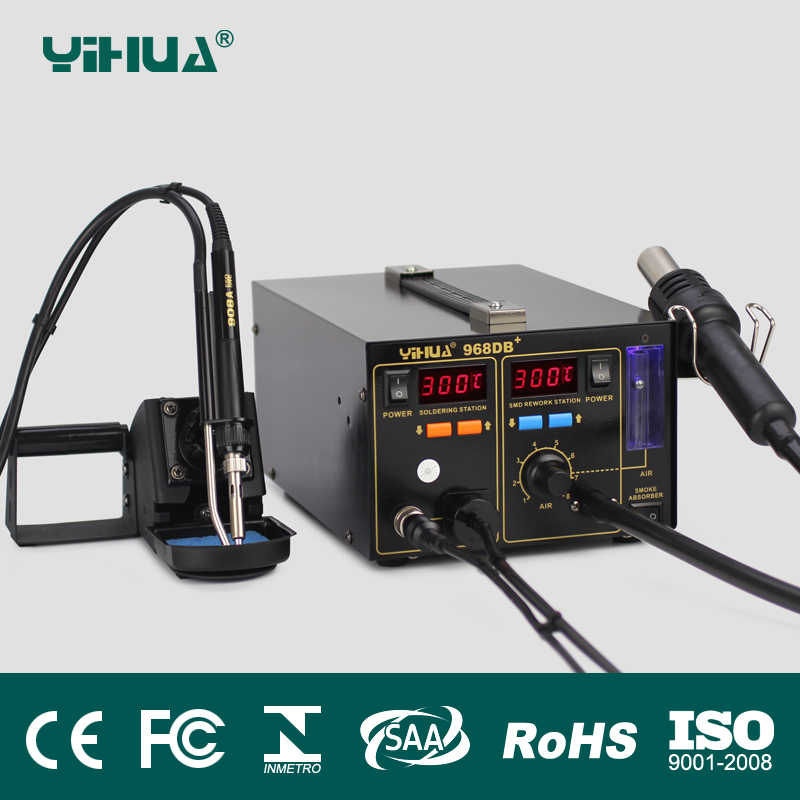 Hot 3 in 1 SMD Rework Station YIHUA 968DB+ Soldering Station With Smoke  Absorber