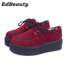 2017 Spring autumn Creepers Shoes Woman Lace Up Flats Shoes Creepers Platform Shoes Black Plus Size 35-41