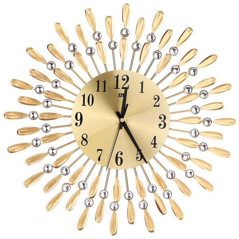 15 Inch 3D Large Wall Clock Shiny Rhinestone Sun Style Modern Living Room Decor