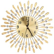 15 inch 3D Large Wall Clock Shiny Rhinestone Sun Style Modern Living Room Decor